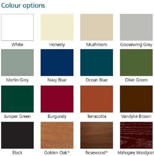 Gliderol Garage Doors Colour Chart Roller Doors Ltd