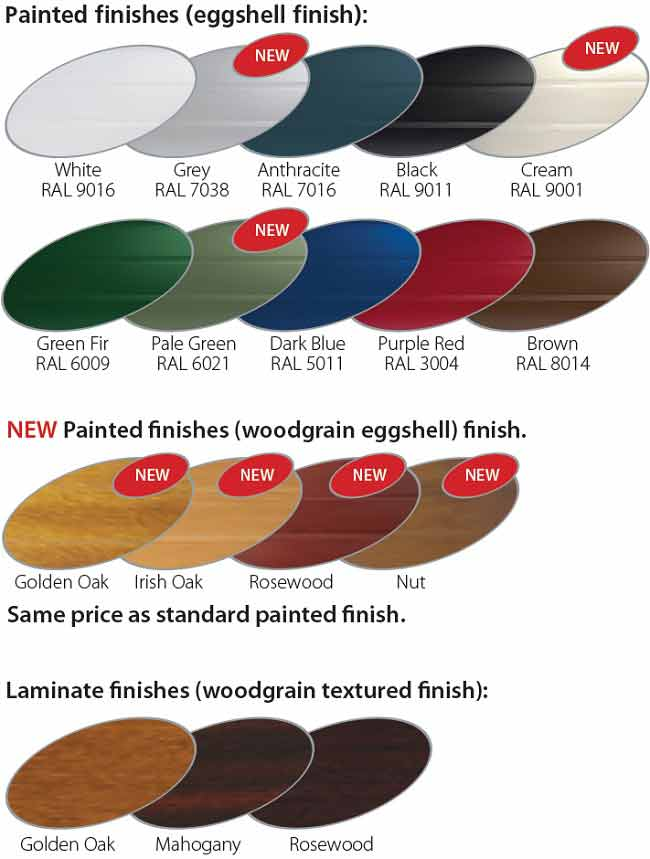 Gliderol insulated garage doors colour chart
