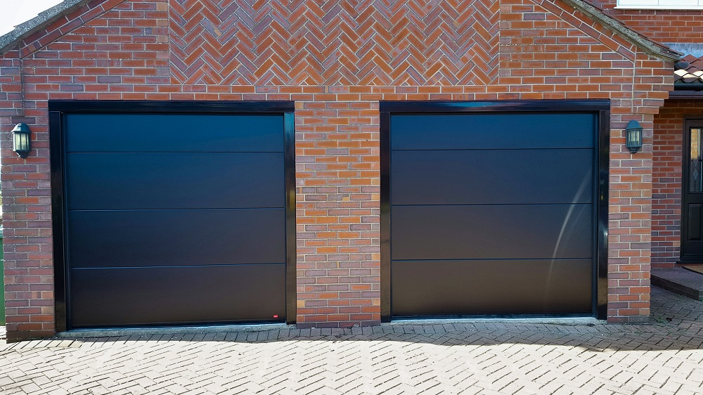 Overhead Sectional Garage Doors : Stylish sectional overhead grey garage door for stone