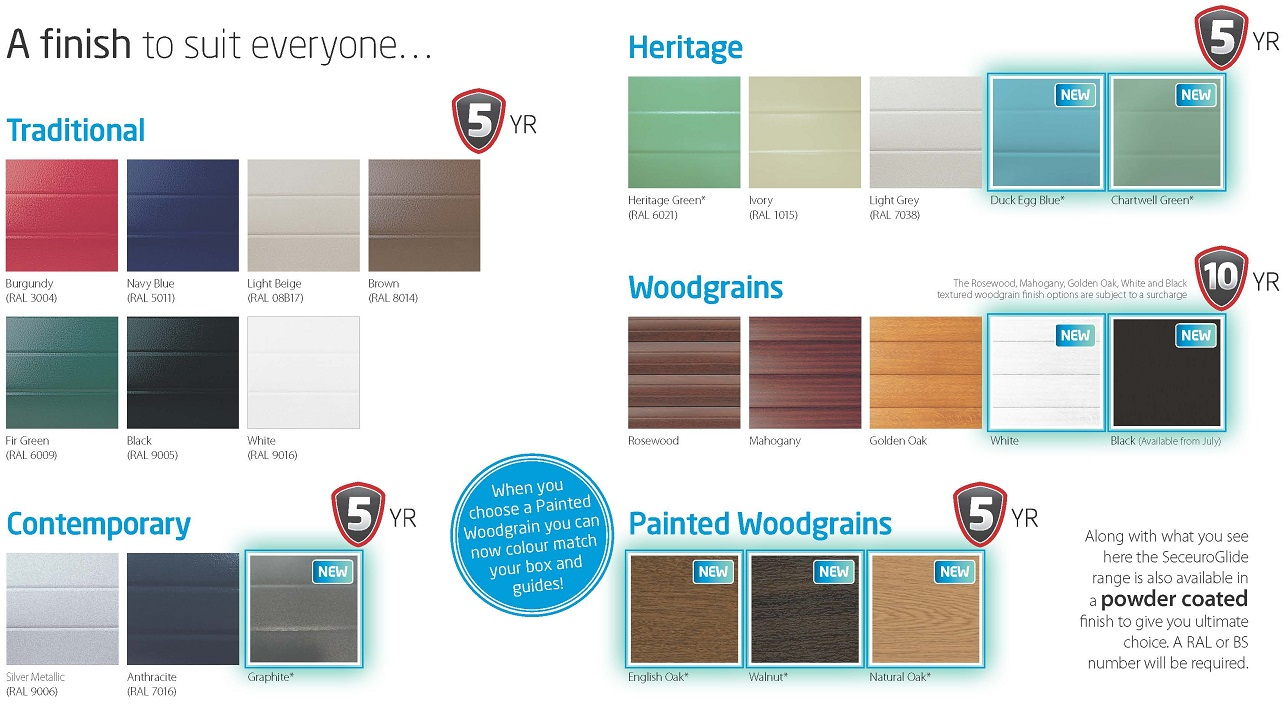 Seceuroglide roller shutter garage door colour chart